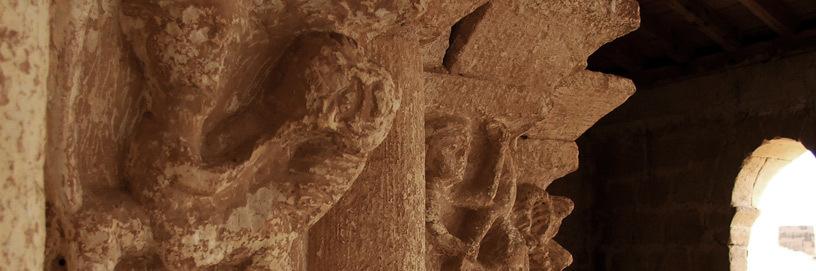 Capiteles románicos en Aguilera, Soria.