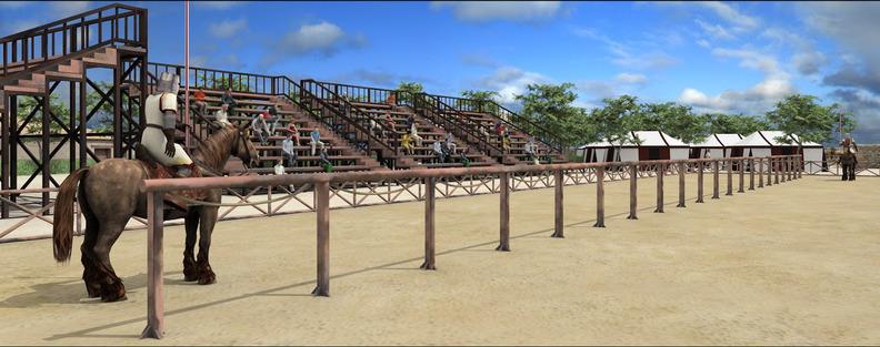 Recreación del poblado medieval en el que trabaja la Asociación Cultural Mío Cid de El Poyo del Cid (Teruel)