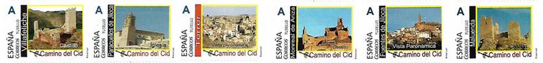 Parte de la colección de los sellos de Correos dedicados al Camino del Cid