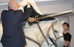 El director del Museo del Libro destapa la obra que desde hoy preside la sala dedicada al Cid