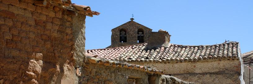 Tejados en Aguilar de Montuenga, Soria.