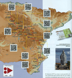 Mapa con las etapas recomendadas y sus correspondientes códigos QR