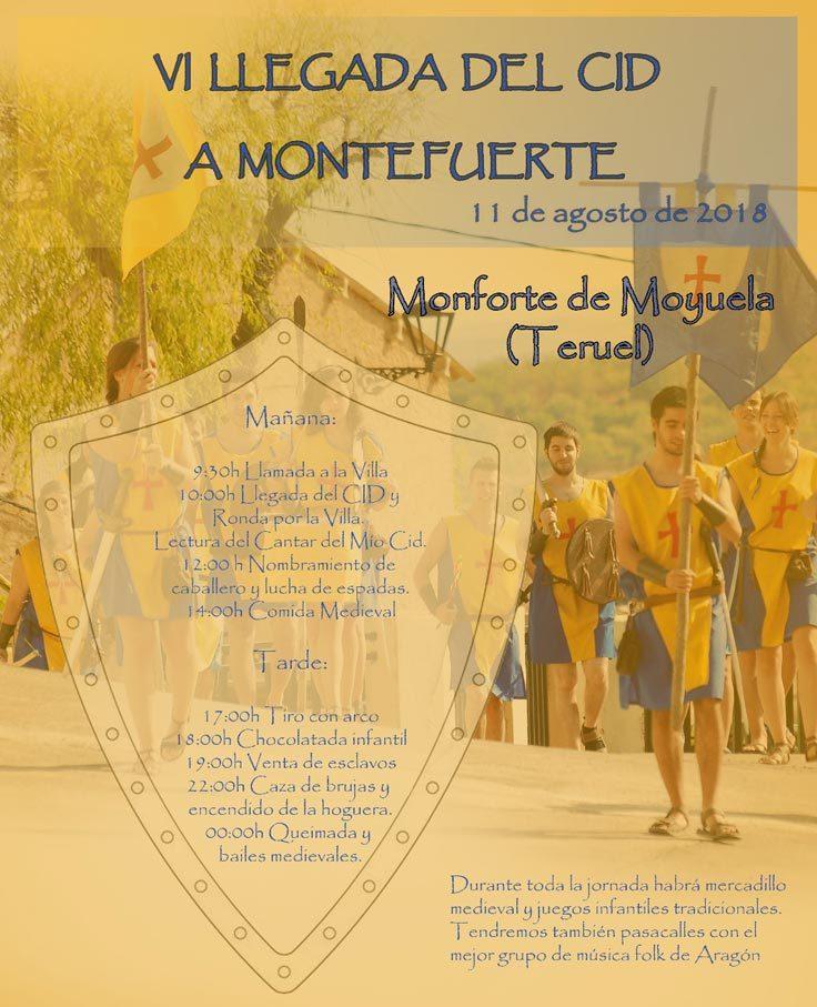 Cartel de La Llegada del Cid a Montefuerte en el que se recogen las actividades que tendrán lugar el 11 de agosto