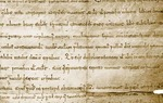 """En 1098, tras conquistar la ciudad, el Cid donó a la iglesia de Valencia una serie de propiedades. En el documento de donación aparece su firma en latín """"Ego Ruderico"""", que significa """"Yo, Rodrigo"""" y es uno de los tres elementos gráficos del logo del Consorcio Camino del Cid."""