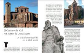 Primeras páginas del reportaje que la revista Expocultur dedica al Camino del Cid a su paso por la provincia de Guadalajara