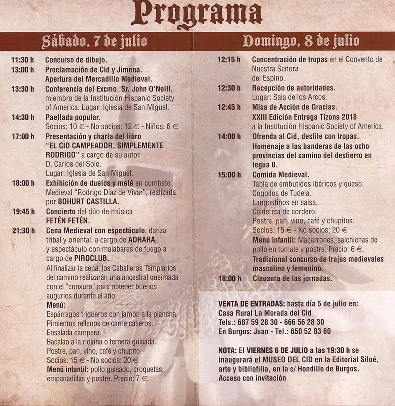 Programa de los actos de las Jornadas Medievales de Vivar del Cid