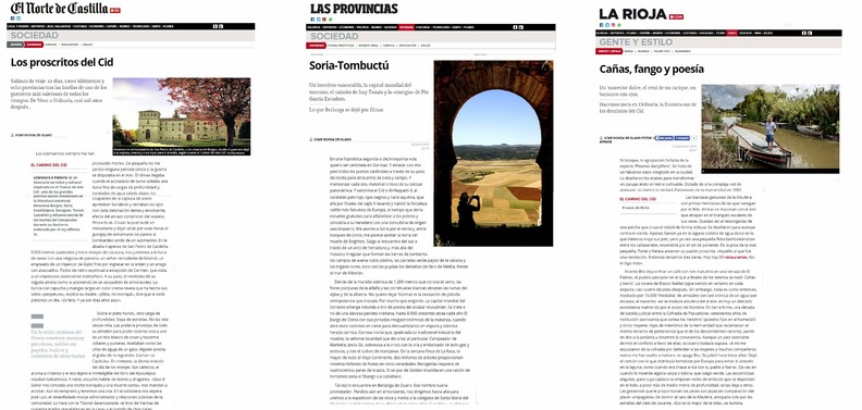 Alguna de las portadas de los reportajes dedicados al Camino del Cid publicados por los periódicos del grupo Vocento