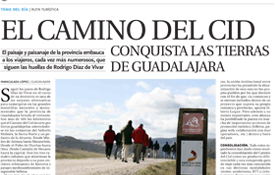 Página de apertura del reportaje sobre el Camino del Cid publicado en La Tribuna de Guadalajara